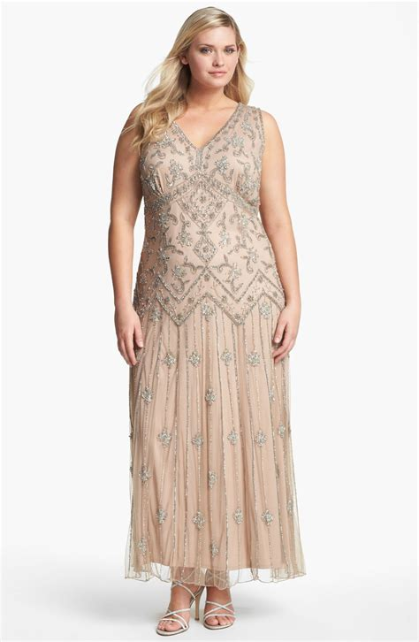 pisarro nights beaded dress pisarro nights beaded mesh gown in pink blush lyst