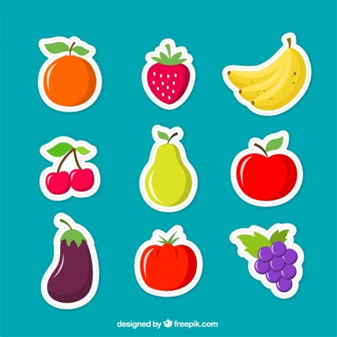 fruits for fruits stickers vector free