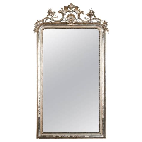 large beaded mirror large silver leaf louis philippe mirror with elaborate