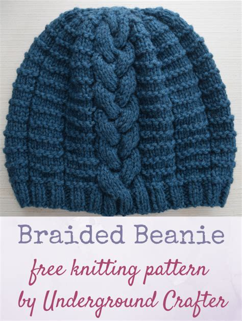 free knitted beanie patterns for free knitting pattern braided beanie underground crafter