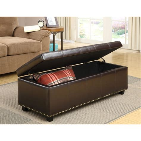 rectangular leather storage ottoman simpli home kingsley rectangular bonded leather storage