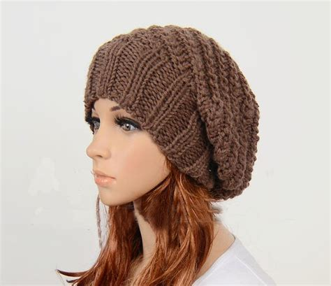 knitted hats slouchy handmade knitted hat clothing cap brown on