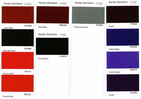 paint colors harley davidson harley davidson paint color codes