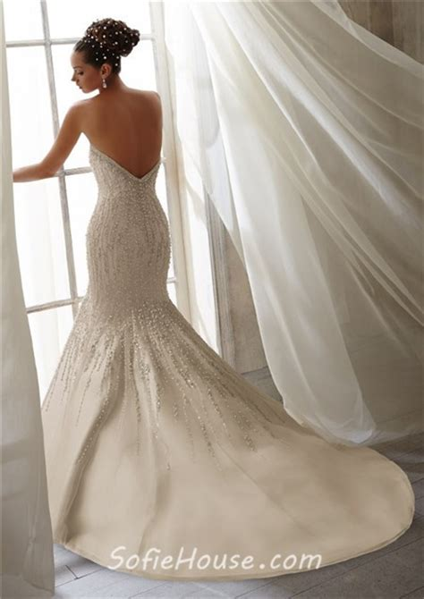 wedding dress beaded back mermaid strapless scoop neck low back beaded