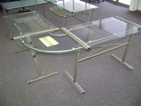 glass l shape desk on being t shaped core77 home office desk