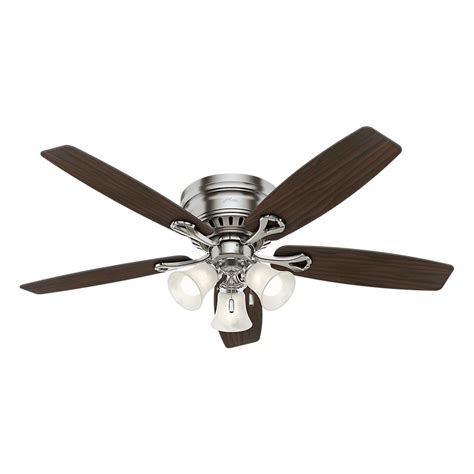 nickel ceiling fan with light oakhurst 52 in led indoor low profile brushed