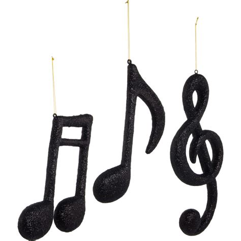 musical note ornament 12 quot assorted note ornaments black glitter set of 3
