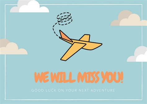 sky blue clouds and paper plane farewell card templates