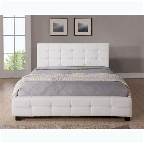 pu bed frame size upholstered white pu leather bed frame