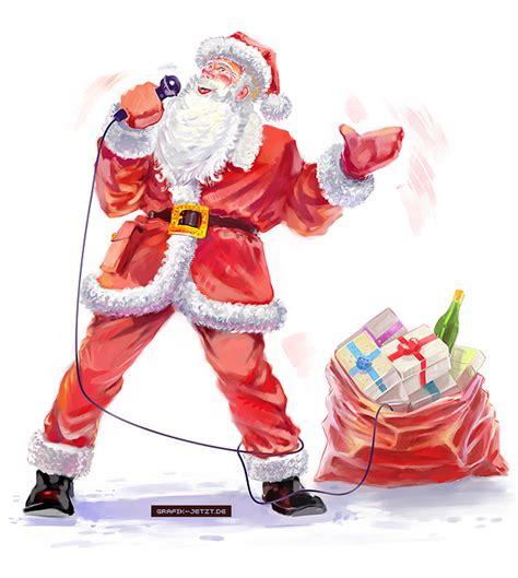 singing santa claus graphic now contemporary digital illustration