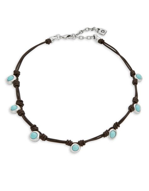 beaded choker necklace uno de 50 tomorrowland beaded choker necklace in blue lyst