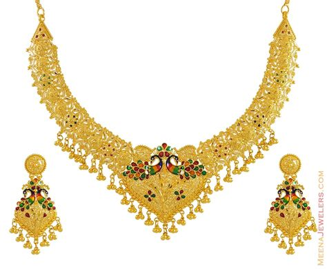 gold necklace designs with 22k gold set peacock design stgd9493 22k gold