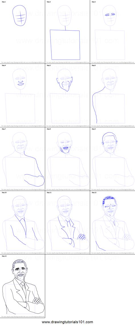 step by step how to draw barack obama printable step by step drawing