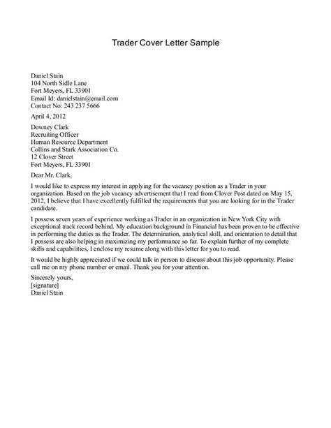 cover letter sample for trader best cover letter sample