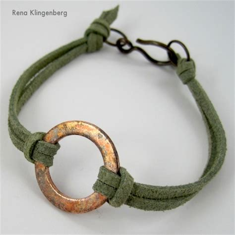 how to make leather jewelry rustic copper washer leather bracelet tutorial