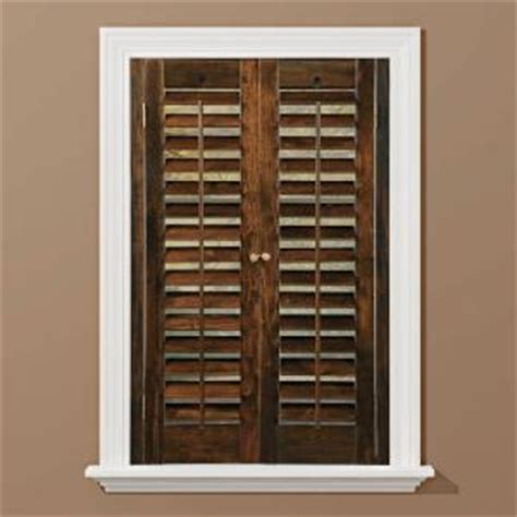 window shutters interior home depot homebasics plantation walnut real wood interior shutter price varies by size qspc2724 the