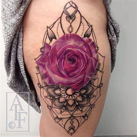 pink rose amp mandala on girls hip best tattoo design ideas