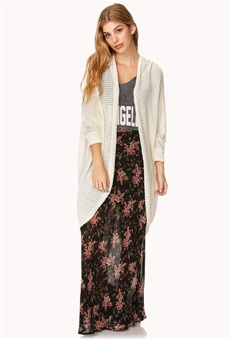 knit cardigan forever 21 forever 21 draped popcorn knit cardigan in beige