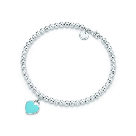 return to bead bracelet blue return to 174 mini tag in sterling silver on a