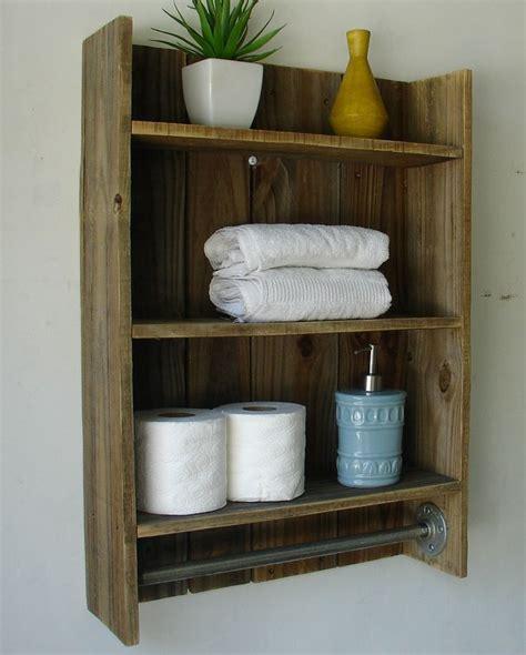 wooden shelves for bathroom modern rustic 2 tier bathroom shelf with 18 quot satin nickel