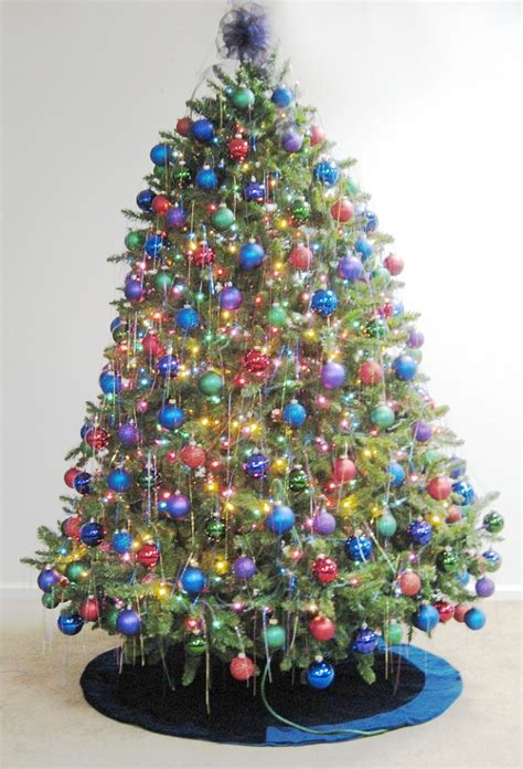 decorated trees with multicolor lights decorations let s celebrate