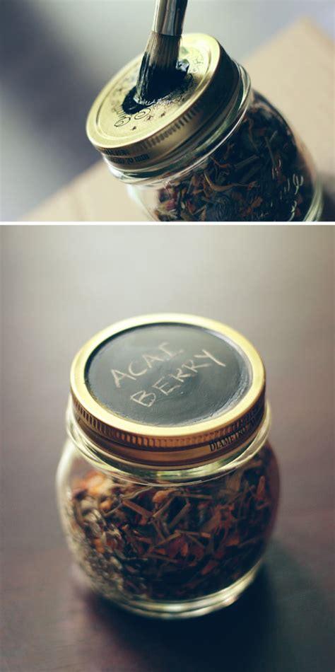 chalkboard paint jar lids diy tea storage jars wit whistle