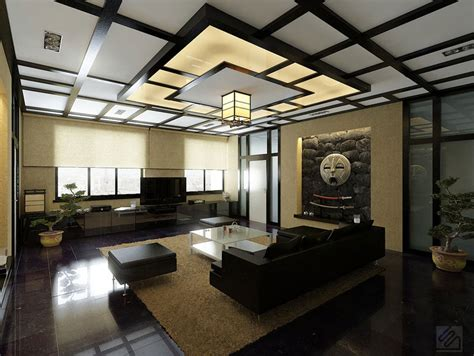 modern japanese style living room with japanese style ceiling and bonsai decor interior design