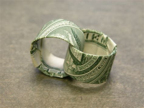 origami ring dollar dollar bill two interlocking rings aka for richer or for p