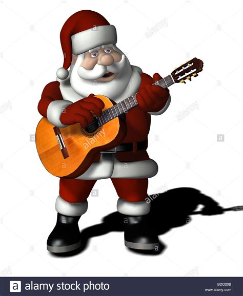 singing santa claus santa claus singing with a guitar stock photo