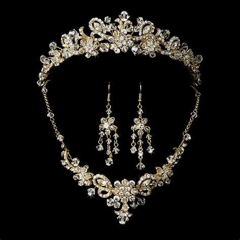 gold for jewelry gold swarovski bridal jewelry set and tiara