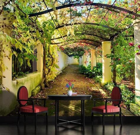 wall mural from photo garden pergola 3d mediterranean arbor wall mural