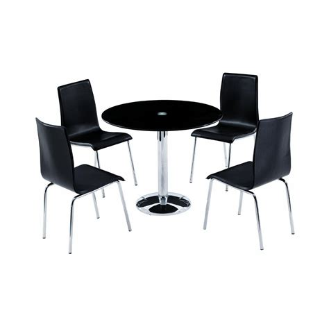 table and chairs orbit 90cm black glass dining table with 4 chairs