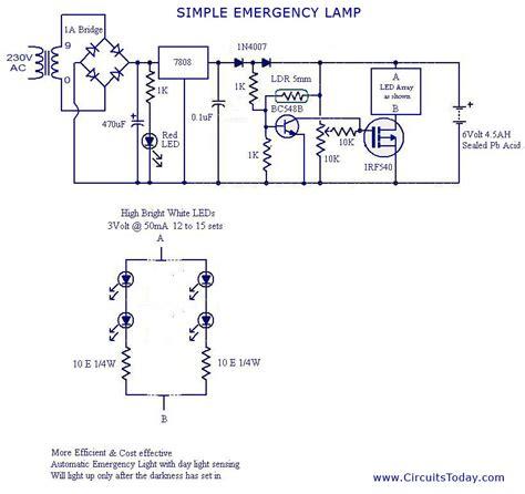 lights circuit automatic led emergency light circuit
