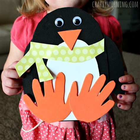 penguin craft projects handprint penguin craft for to make crafty morning