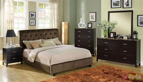 velvet bedroom furniture lemoore brown platform bedroom set with padded velvet
