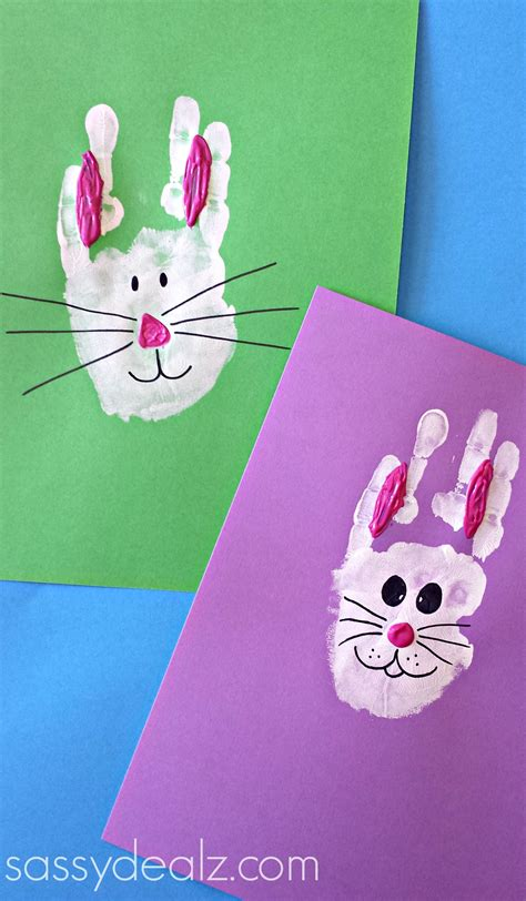 easter bunny craft projects bunny rabbit handprint craft for easter idea