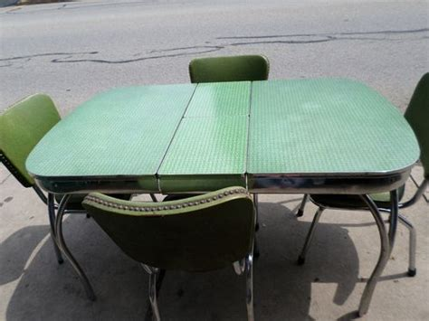 green kitchen table vintage mid century chrome green formica kitchen table set