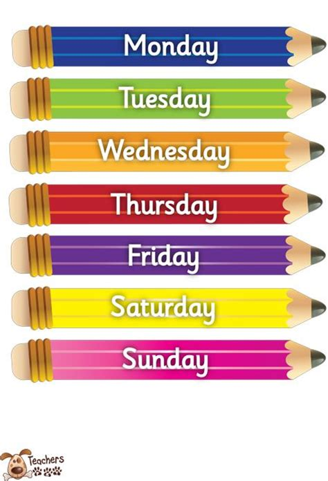 s pet small pencil days of the week free