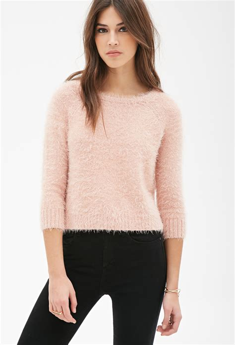knitted sweaters forever 21 forever 21 boxy fuzzy knit sweater in pink lyst