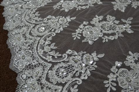 beaded lace fabric quality ivory exquisite beaded lace bridal corded wedding
