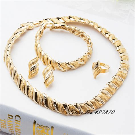 gold filled for jewelry 18k gold filled jewelry statement necklace earrings set
