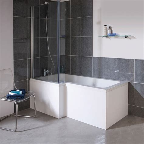 cool showers and baths 1700mm l shape square shower bath screen white left