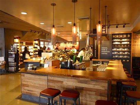 Best Socially Designed Coffee Shops in Seattle with Wood Interior Unique Pendant Lamp and Yellow