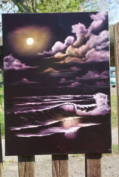 bob ross painting black and white moonlit seascape oils on a black gesso canvas bob ross