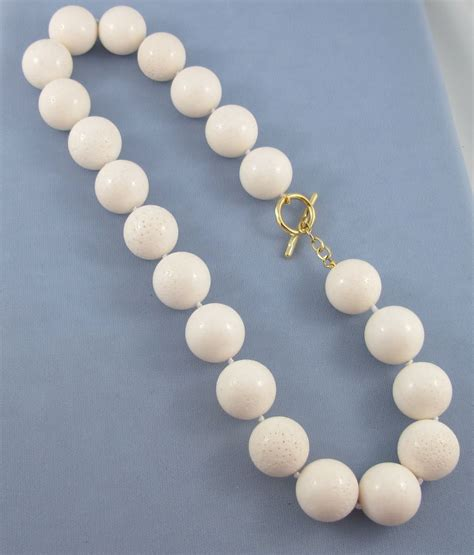 white coral bead necklace white coral necklace 20mm 18k gold sold on ruby