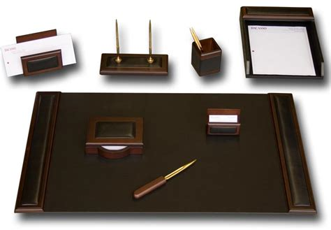 office desk accessories d8412 walnut leather 8 desk set