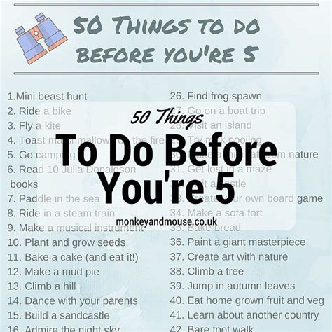 things to do with 50 things to do before you re 5 monkey and mouse