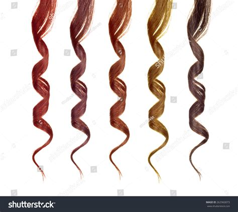 strands of colored strands of hair isolated on a white stock photo