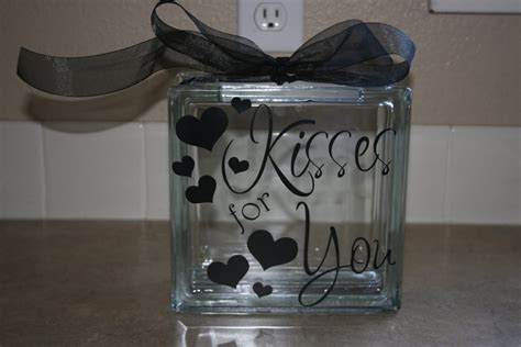 glass blocks craft projects words and wisdom custom vinyl lettering kisses for you
