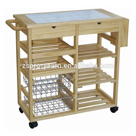 Kitchen Island Wine Rack modern design wooden kitchen trolley with 3 tier 4 wheels